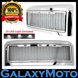 08 10 Ford Super Duty Raptor Style Chrome Package Mesh Grille Shell White 3x Led