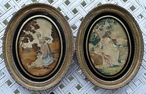 18th Or Early 19th Century Pair Of Silk Needlework Pictures In Period Frames