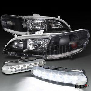 For 1998 2002 Honda Accord Black Clear Headlights Led Driving Fog Lamps Pair