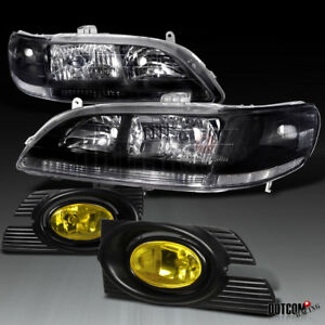 For 2001 2002 Accord 4dr Black Crystal Head Lights yellow amber Bumper Fog Lamps