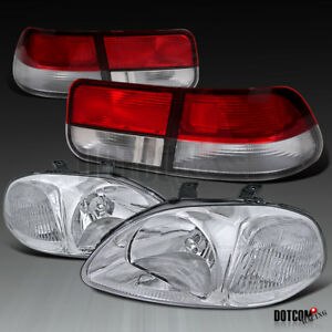 Fit Honda 1996 1998 Civic 2dr Coupe Clear Headlights Red Clear Tail Brake Lamps