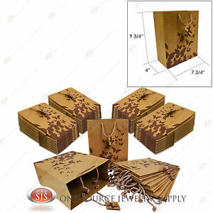 50 Brown Kraft Butterfly Paper Tote Gift Merchandise Bags 8 X 5 X 10 h