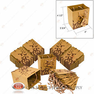 50 Brown Kraft Butterfly Paper Tote Gift Merchandise Bags 4 X 2 3 4 X 4 1 2 h