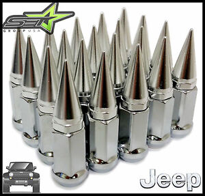 20 Chrome Spiked Extended Lug Nuts 1 2x20 Offroad Wheels For Cj Yj Jk Jeep