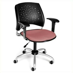 Ofm Star Swivel Office Chair With Arms In Coral Pink