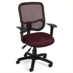 Ofm Mesh Comfort Series Ergonomic Task Office Chair With Arms In Wine
