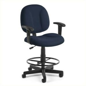 Ofm Comfort Series Superdrafting Office Chair With Arms And Drafting Kit In Navy