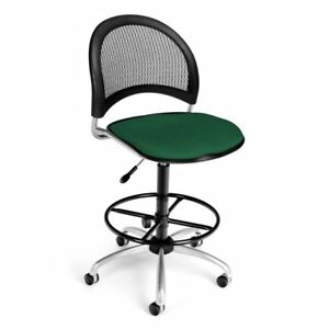 Ofm Moon Fabric Swivel Drafting Stool In Forest Green