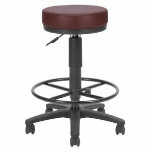 Ofm Faux Leather Adjustable Drafting Utilistool In Wine