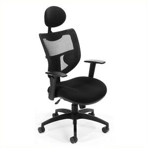 Ofm Parker Ridge Executive Mesh Office Chair With Headrest In Black