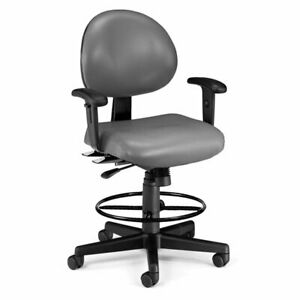 Ofm 24 Hour Faux Leather Swivel Drafting Stool In Charcoal