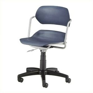 Ofm Martisa Armless Swivel Office Chair With Silver Frame In Navy