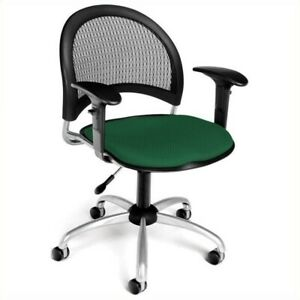 Ofm Moon Swivel Office Chair With Arms In Forest Green