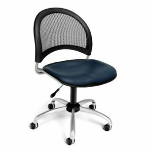 Ofm Moon Faux Leather Swivel Office Chair In Navy