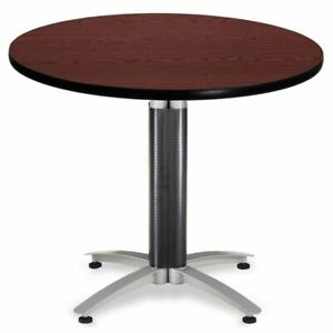 Ofm Mesh Base 36 Round Table In Mahogany Transitional Conference