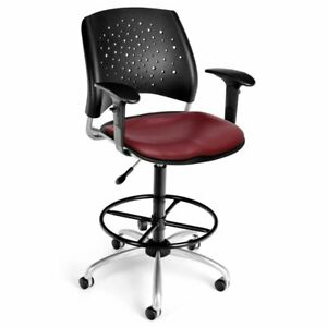 Ofm Stars Faux Leather Swivel Drafting Stool In Wine