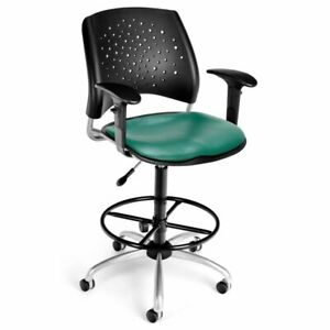 Ofm Stars Faux Leather Swivel Drafting Stool In Teal