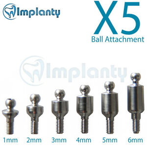 5x Ball Attachment Abutment Dental Implant Internal Hex Fit With Ab Mis Zimmer