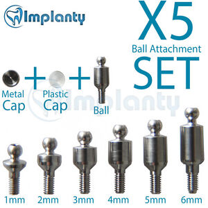5x Ball Attachment Set Abutment Dental Implant Internal Hex Fit With Ab Mis