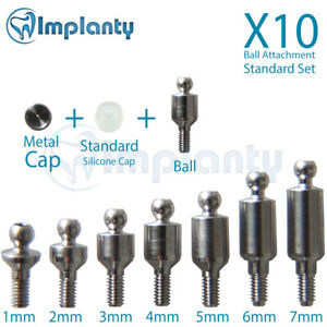10x Ball Attachment Set Abutment Dental Implant Internal Hex Fit With Ab Mis