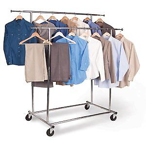 Dual Rod Collapsible Garment Rack On Wheels