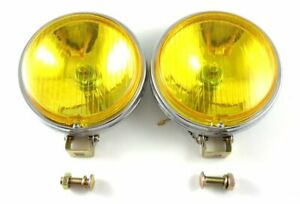 Vw Amber 6 Flat Face 12v Vintage Fog Lights Chrome Bug Bus Ghia Type 3 H3 Bulbs