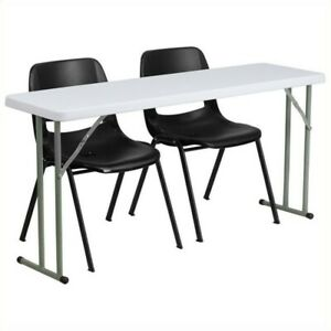 Flash Furniture Folding Table And 2 Stacking Chairs In Black And White