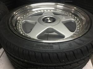 18 Avant Garde M240 Staggered Silver Wheels Rims Tires Fits Honda Civic