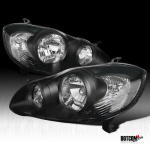 Fit 2003 2008 Toyota Corolla Jdm Black Front Headlights Driving Head Lamps