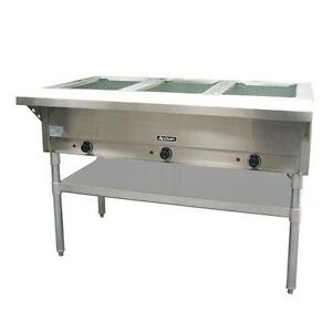New Commercial Kitchen Stainless Steel Adcraft 3 Bay Open Well Steam Table