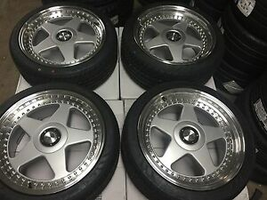18 Avant Garde M240 Staggered Silver Wheels Rims Tires Fits Toyota Camry