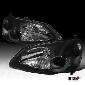 For 2001 2003 Honda Civic Lx Ex Jdm Black Headlights Head Lamps Replacement Pair