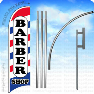 Barber Shop Windless Swooper Flag Kit 15 Feather Banner Sign Wb