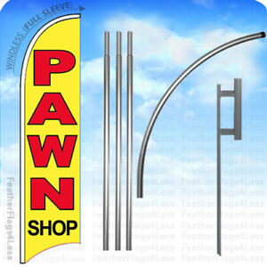 Pawn Shop Windless Swooper Feather Banner Sign Flag 15 Kit Yb