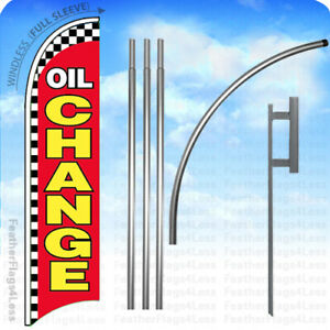 Oil Change Windless Swooper Feather Flag 15 Kit Banner Sign Checkered Rb