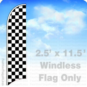 Black White Bw Checker Windless Swooper Flag 2 5x11 5 Feather Banner Sign Kb