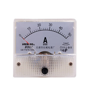 Class 2 5 Accuracy Dc 0 50a Analog Panel Amp Meter Free Shipping