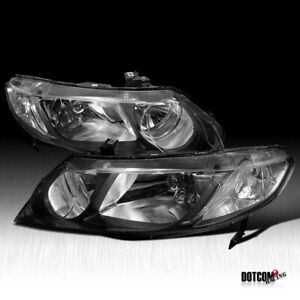 Fit Honda 2006 2011 Civic Sedan Clear Headlights Black Head Lamps Left right