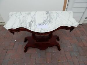 Antique Victorian Mahogany Marble Top Console Harp Table 40 W By 17 5 D By 28 H
