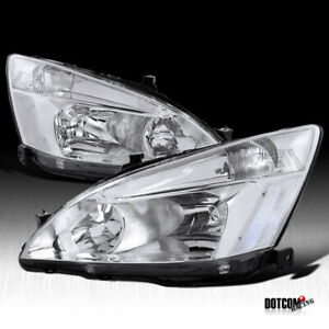 For 2003 2007 Honda Accord Assembly Clear Lens Headlights Head Lamps Left Right