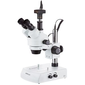 3 5x 45x Trinocular Stereo Zoom Microscope With Dual Halogen Lights 1 3mp Came
