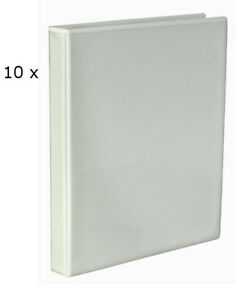 10 X White A4 Presentation Cover Ring Binder File Folder 40mm Spine 4 X D Ring