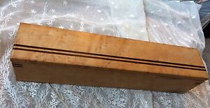 Handcrafted Inlaid Burled Wood Trinket Pencil Jewelry Box Art Deco Mid Century