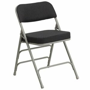 Flash Furniture Metal Folding Fabric Chair In Black And Gray
