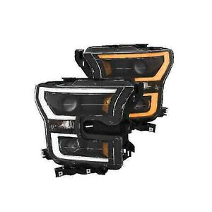 Anzo 111357 Pair Of Black Projector Plank Style Switchback Headlights For F 150