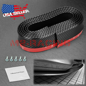 Universal Carbon Fiber Black Front Bumper Lip Splitter Chin Spoiler Body Kit
