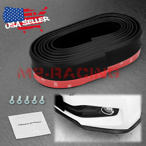 Universal Carbon Fiber Black Front Bumper Lip Splitter Spoiler Body Kit Trim