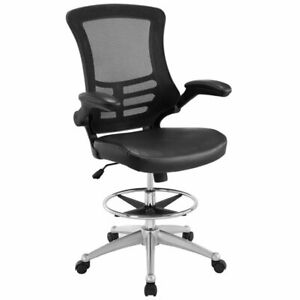 Modway Attainment Mesh Drafting Stool In Black