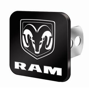 Metal Hitch Plug Black W Ram Logo In White Fits 2 1 25 Recievers