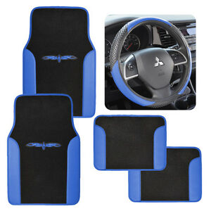 Vinyl Trim Car Floor Mats Steering Wheel Cover Black Blue Speed Grip 2 Tone